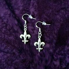 50% SALE Fleur De Lis Earrings..New Orleans Saints Earrings..Fleur De Lis Jewelry..Mardi Gras Jewelry 925 Sterling Silver Wire FREE SHIPPING by UniqueTrinkets4u on Etsy