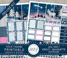 Winter Stickers Kit, Christmas Planner Stickers, Weekly Planner Kit, Mambi Stickers, ECLP Stickers, Cut File Stickers ECF104
