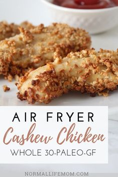 """Air fryer cashew crusted chicken comes together quick for an easy and delicious family friendly meal everyone will love. Instead of breading this chicken uses cashews as the """"crust"""" making in gluten free and whole 30 compliant. Easy Chicken Dinner Recipes, Gluten Free Recipes For Dinner, Best Chicken Recipes, Delicious Dinner Recipes, Whole 30 Recipes, Easy Meals, Yummy Food, Yummy Recipes, Clean Eating Vegetarian"""