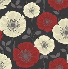 Grey Red Flowers