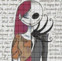 Jack e Sally - make up as a graphgan Disney Cross Stitch Patterns, Cross Stitch Designs, Crochet Cross, Crochet Chart, Jack E Sally, Cross Stitching, Cross Stitch Embroidery, Stitch Character, Halloween Cross Stitches