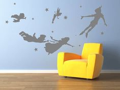 Peter pan wall decal Vinyl nursery kids teen girl decals flying tinkerbell wendy stars house baby room decor Wall Sticker kid mural MRI915 on Etsy, $39.00