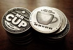 Mr. Cup coin business cards.