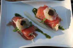 Cannelloni van tonijn met kingkrab, bloemkoolcrème en pesto