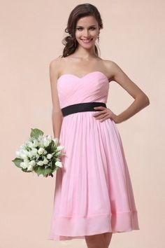 A-Linie Herz-Ausschnitt gefaltetes knielanges rosa Chiffon Brautjungfernkleid