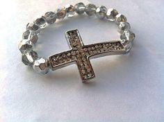 silver sidway cross bracelet   #armcandy