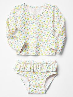 Floral ruffle two-piece