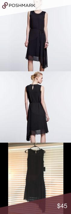 Simply Vera Asymmetrical Shift Dress This dress has an asymmetrical hem, it's sleeveless with a chiffon overlay and has a front tie. The material is Viscose, Rayon and Polyester. NWT. Simply Vera size S. Simply Vera Vera Wang Dresses Asymmetrical
