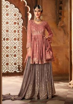 Buy online from largest collection of indian lehenga choli. Buy this alluring faux georgette embroidered, lace and resham work long choli lehenga.