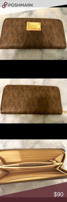 🌸Michael Kors Signature Wallet🌸 Michael Kors tan signature wallet. In excellent condition. Full zip outside and small coin zip inside. Thanks for looking! Also selling matching bag. Bundle for discount. 😊 Michael Kors Bags Wallets