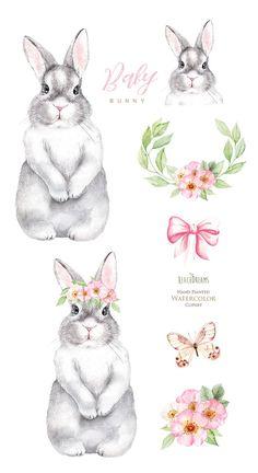 Little animals clipart rabbit babies Watercolor Images, Watercolor Animals, Animal Nursery, Nursery Art, Hase Tattoos, Lapin Art, Rabbit Drawing, Bunny Tattoos, Bunny Painting