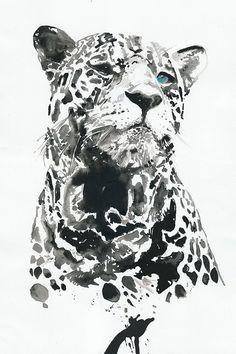 Impresión de la pintura de acuarela. Titulado - leopardo 3
