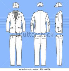 sweatpants front back side | Men's clothing set. Blank template of classic blazer, pants and cap in ...