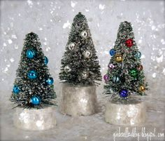 creating in glass slippers: Glitter Bottle Brush Tree