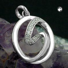 Anhänger, Kreis mit Zirkonia, Silber 925  rhodiniert