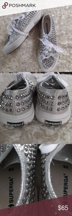 SuperGA silver studded canvas shoes Awesome tennis shoes! Gently used condition. Gender neutral shoes, 4.5mens 6 women's. Superga Shoes Sneakers