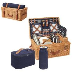 Windsor Basket Service for 4 - Navy Blue