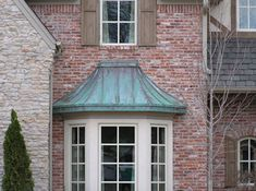 (nice Copper Roof Over Bay Window Copper Awning, Copper Roof, Zinc Roof, Metal Roof, Roof Window, Bay Windows, Window Seats, Green Siding, Little Dream Home
