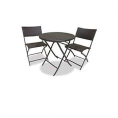 3 Piece Bistro Set With Round Table U0026 2 Patio Chairs
