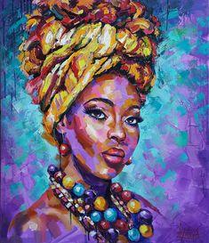 Black Art Painting, Painting Of Girl, Figure Painting, African Art Paintings, Portrait Art, Woman Portrait, Portrait Paintings, Deco Boheme, African American Art