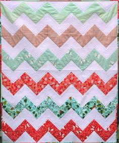 Chevrons in Hello Pilgrim by Elvy Crafts, via Flickr - takes 6 fat quarters plus yardage.  http://www.limasews.com/2012/10/chevron-toddler-quilt-tutorial-and.html# in case it only pins flickr.
