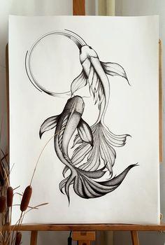 Japanese Koi Fish Tattoo, Koi Fish Drawing, Fish Drawings, Art Drawings Sketches, Tattoo Drawings On Paper, Drawings On Hands, Back Tattoo Women, Back Tattoos, Body Art Tattoos
