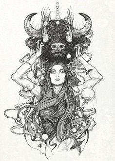 It would make a beautiful tattoo Juxtapoz Magazine - Richey Beckett Illustration Tatoo Art, Tattoo Drawings, Art Drawings, Black Art Tattoo, Taurus Art, Taurus Woman, Astrology Taurus, Scorpio Man, Astrology Tattoo