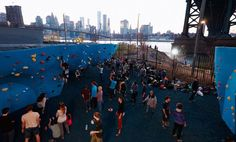 DUMBO Boulders is an outdoor bouldering structure at the foot of the Manhattan Bridge offering a good exercise combined with one of New York's best views. Brooklyn Bridge Park, Manhattan Bridge, Bouldering, Great Places, Times Square, Dolores Park, Public, New York, Exercise
