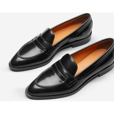Everlane Women's Penny Loafers ($175) ❤ liked on Polyvore featuring shoes, loafers, black leather loafers, penny loafer shoes, black loafers, black shoes and everlane loafers