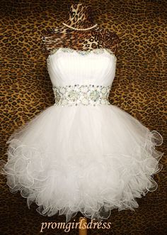 White Homecoming Dress  Strapless Homecoming by Promgirlsdress