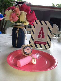 Girls nautical baby shower center piece, nautical frame and giveaways