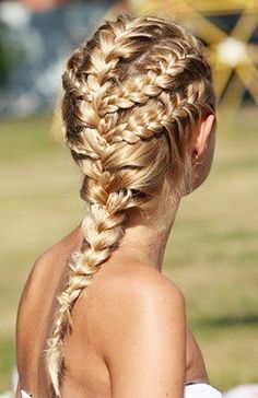 French braid your hair into 5 different sections for a fun and unique poolside look. // #Hair #Tips- This looks like something Val or Dany would wear. #LOVE