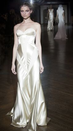 panelled silk wedding dress