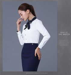 Chino Manufacture Business Formal Work Women Long Sleeve Blouse