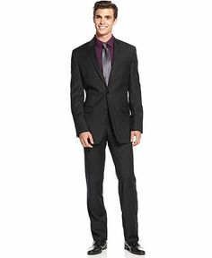 Calvin Klein Suit, Black Tonal Stripe Peak Lapel Slim Fit - Suits & Suit Separates - Men - Macy's
