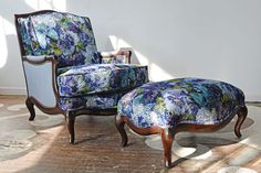 our client's beautiful Bergere chair and ottoman set reupholstered in Mattiazzo in Cobalt a gorgeous cut floral velvet with metallic accents from Designers Guild. The chair arms and sides have been upholstered in a lovely solid faux leather from Osborne & Little and finished with brass nailheads