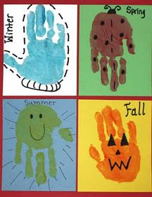 Cute Changing Seasons Activity :) would make a cute book for each child if you took a picture of them at the beginning of each season and put it next to their handprint.