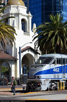 Amtrak 462 sits in front of the historic San Diego Train Station.