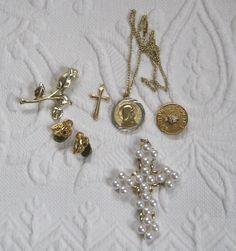 religious items .  religious catholic . lot of 7 . religious jewelry . religious destash by vintagous on Etsy