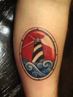 lighthouse wave tattoo