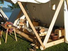 an other view of the floored tent. notice under floor beams sticking out at the end.