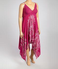Look what I found on #zulily! Fuchsia & Silver Crochet Handkerchief Dress - Plus by Metro 22 #zulilyfinds