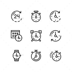 Set of Time, Clock, Watch, Timer Vector Outline Icons for Web and Mobile Design Pack 1