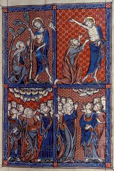 One of five full-page miniatures of scenes from the Life of Christ in the Barlow Psalter one of a group of early Fenland MSS Medieval Manuscript, Medieval Art, Illuminated Manuscript, Doubting Thomas, Christ Is Risen, Life Of Christ, Madhubani Art, Pentecost, Doodles Zentangles