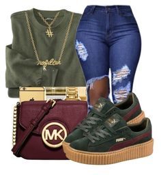 """""""One of a kind"""" by maiyaxbabyyy ❤ liked on Polyvore featuring Michael Kors, Puma and Gorjana"""