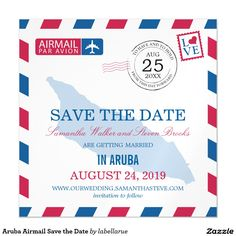 Aruba Airmail Save the Date Magnetic Card A fun creative Wedding Save the Date to send to all your guests announcing your destination wedding with this Red and Blue Airmail design. Map of ARUBA placed in the center of the design in a lighter blue color. If the color scheme is not what you wanted please email paula@labellarue.com BEFORE placing an order so a new design can be created for you. Happy Wedding Planning!