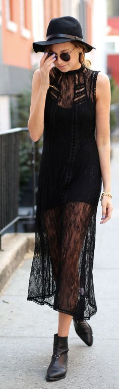 Pixie Market Ebony Lace Sheer Maxi Dress by We Wore What