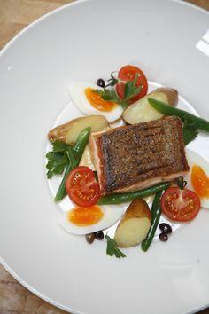 ed dixon food design pan fried salmon, nicoise salad, anchoiade photography by sarah wood www.eddixonfooddesign.com