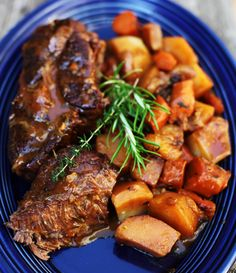 Braised Beef with Root Vegetables-- Carrots, potatoes and onions enhance the overall flavor of this delicious one-pot dish.