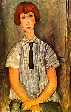 nataliakoptseva:  Modigliani - Jeune fille au corsage rayé